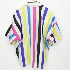 Vintage Tops - Vintage Bright Colorful Striped Button Up Shirt